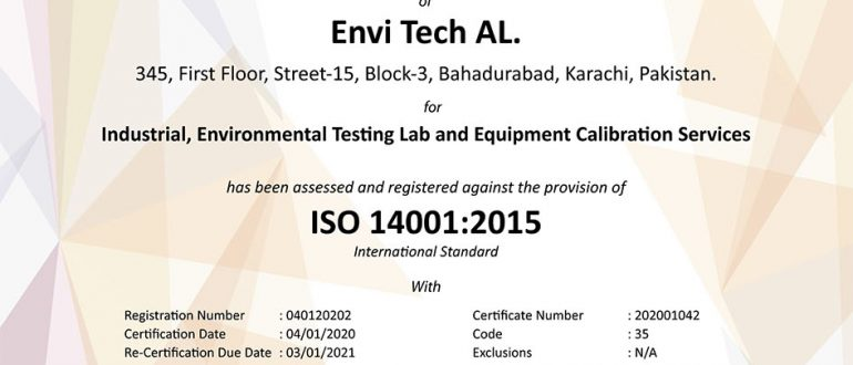 Successfully Qualifies & Received Certificate of ISO 14001:2015