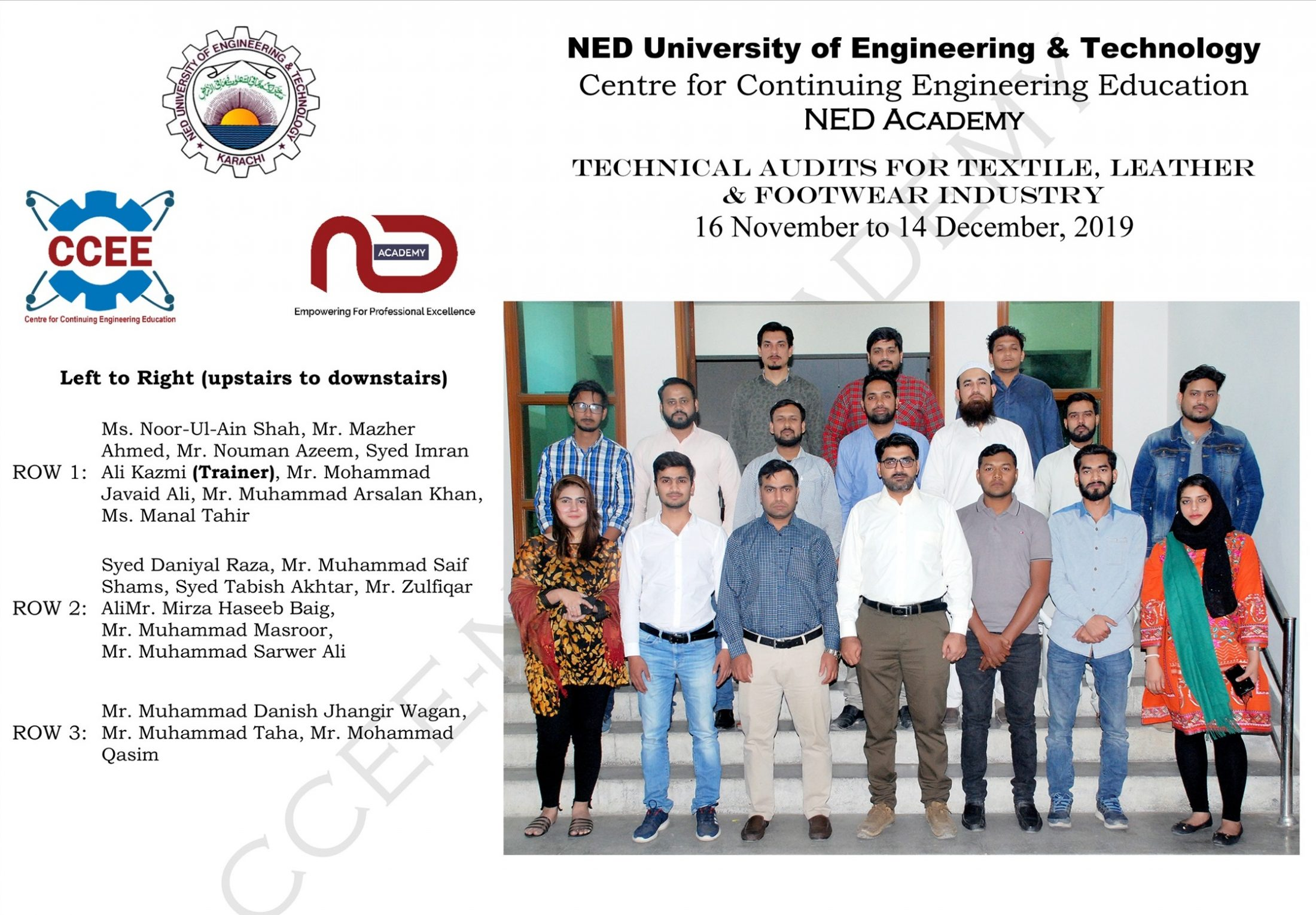 Successful Completion of Professional Certificate Short Course on Technical Audits at NED-UET